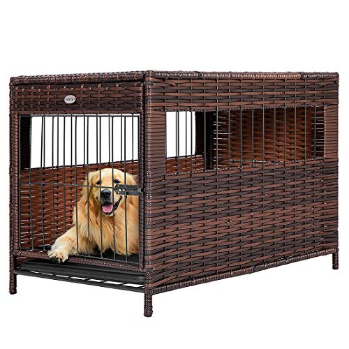 """DEStar Heavy Duty PE Rattan Wicker Pet Dog Cage Crate Indoor Outdoor Puppy House Shelter with Removable Tray and UV Resistant Cover (Medium - 23"""" W x 25"""" H)"""