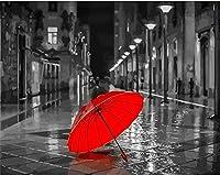 DMFNGJSD 数字油絵 フレーム付き 、数字キット塗り絵 手塗り DIY絵-ストリートレッドの傘の風景-デジタル油絵 40x50 cm