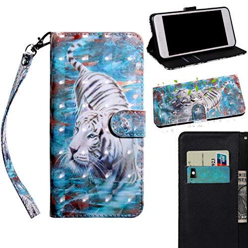 THRION Samsung Galaxy S8 Hülle, PU 3D Brieftaschenetui mit magnetischer Handschlaufe und Ständerhalterung für Samsung Galaxy S8, Tiger