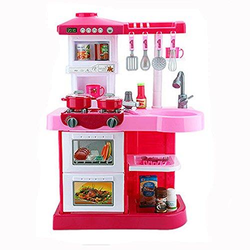 風の翼@ごっこ遊び キッチンセット とともにライト、音楽やアクセサリー付き A8(L*H*W=52*72*24CM) (赤とピンク)