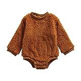 WangsCanis Toddler - Mono para bebé con cuello redondo y pelele de peluche de manga larga, con botones, pantalones a rayas, marrón, 0- 6 meses