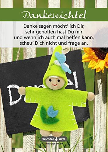 Wichtel Arts Dankewichtel 2 Glücksbringer, Holz, Grün mit Blauer Blume, 15 x 10.5 x 2.7 cm