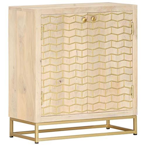 Anrichte Sideboard Mehrzweckschrank Highboard Schubladenkommode Flurschrank, für Diele, Wohnzimmer Esszimmer Diele, Golden 60 x 30 x 70 cm Mango-Massivholz