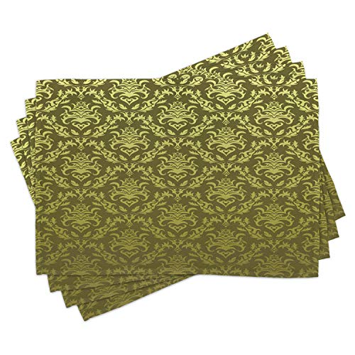Lunarable Damask Place Mats Set of 4 Victorian Floral Pattern with Petals Rococo Style Vintage Design Washable Fabric Placemats for Dining Room Kitchen Table Decor Army Green