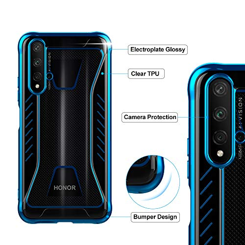 CRESEE für Huawei Nova 5T / Honor 20 Hülle Case, Schutzhülle Transparente Dünn Weich Silikon Cover Bumper Stoßfest Handyhülle Fall für Huawei Nova 5T/ Honor 20 (Blau) - 6
