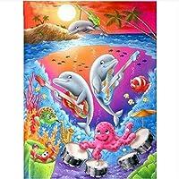 DMFNGJSD 数字油絵 フレーム付き 、数字キット塗り絵 手塗り DIY絵-遊び心のあるイルカ-デジタル油絵 40x50 cm