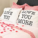 Super Z Outlet I Love You y Love You más algodón poliéster tamaño estándar Funda de Almohada par para Dormitorio, decoración del hogar Set, Aniversario Regalo del día de San Valentín