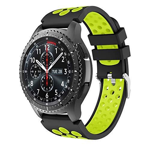 CSVK Kompatibel mit Armband Gear S3 Frontier/Classic 22mm Ersatz Uhrenarmband Silikon Sportarmband for Galaxy Watch 46mm/Moto 360 2nd Gen 46mm(schwarz -grün)