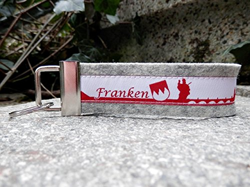 Schlüsselanhänger Schlüsselband Wollfilz hellgrau Franken Skyline rot weiß!