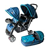 Exclusive Tandem - Double Twin Brothers Stroller Turqoise - BambinoWorld