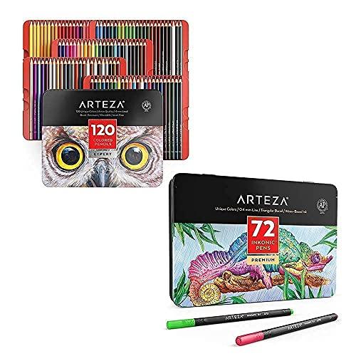 Arteza Colored Pencils and Fineliner Pens Bundle, Drawing Art Supplies for Artist, Hobby Painters & Beginners