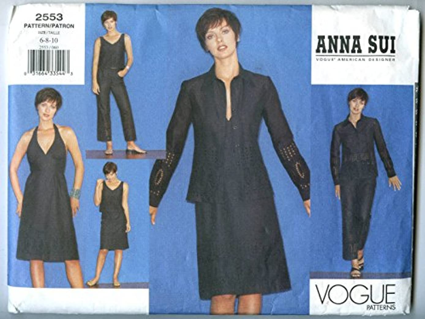 Vogue Anna Sui 2553 Misses Jacket Dress Top Skirt & Pants Pattern (Size 6-8-10)