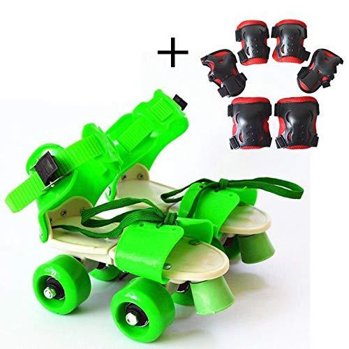 YPYGYB Kinder-Rollschuhe Verstellbare Geschwindigkeit Quad-Rollschuhe Tragbare Allrad-Rutschschuhe Weihnachtsgeburtstagsgeschenk Für Mädchen Und Jungen,Green-Protection