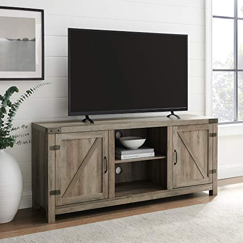"""Walker Edison Furniture Company Farmhouse Barn Wood Universal Stand for TV's up to 64"""" Flat Screen Living Room Storage Cabinet Doors and Shelves Entertainment Center, 58 Inch, Grey"""