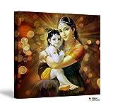 FoxyCanvas Lord Krishna - Baby Krishna with Yashoda Poster 16x16 inch Framed