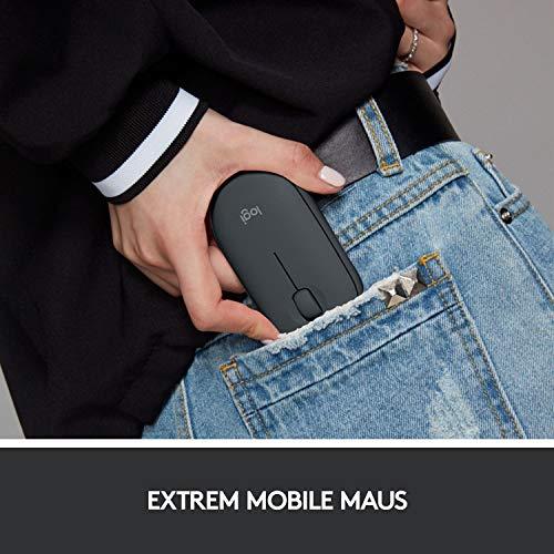 Logitech M350 Pebble Kabellose Maus, Bluetooth und 2.4 GHz Verbindung via Nano USB-Empfänger, 18-Monate Akkulaufzeit, 3 Tasten, Leises Klicken und Scrollen, PC/Mac/iPadOS – Grafit/Schwarz - 4