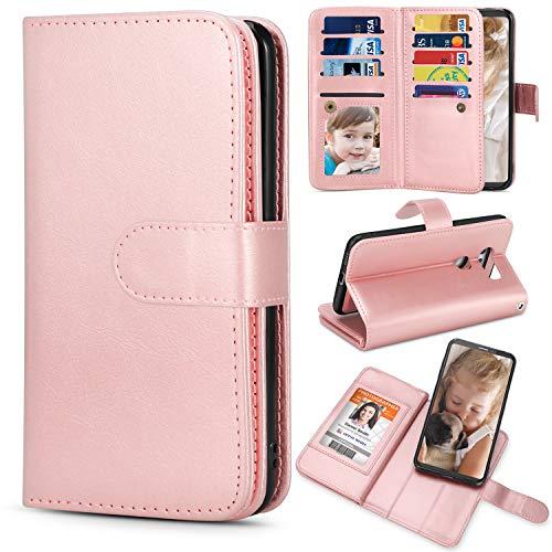 TILL for LG V35   V30 Plus Case, TILL LG V35   V30 Plus [PU Leather] Flip Wallet Case [Cash & Card Slot Holder] [Kickstand] Detachable Magnetic Folio Protective Case Cover [Rose Gold]