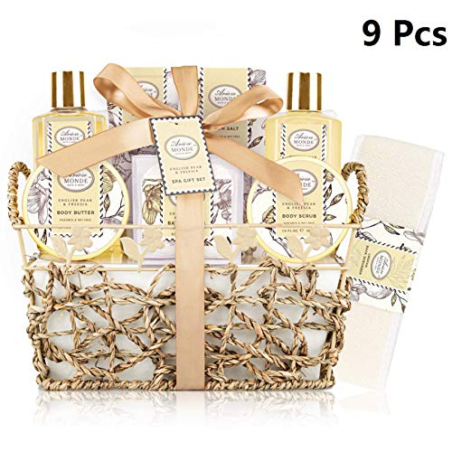 Bath & Shower Spa Gift Basket Set, with English Pear & Freesia Fragrance Bath Gift Basket for Women & Men Includes Body Lotion, Shower Gel, Bath Salts, Bubble Bath, Body Scrub and More, 8 Pcs
