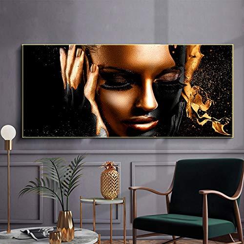 ganlanshu Oro Negro Arte Africano Mujer Pintura al óleo Carteles e Impresiones sobre Lienzo escandinavo,Pintura sin Marco,60x120cm
