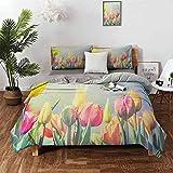 Juego de sábanas en colores pastel-Juego de 3 piezas, juego de cama Tulipanes...