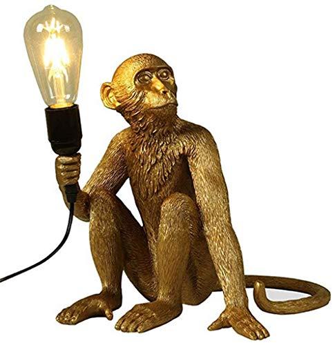 Lampara del Mono del Estilo Industrial del Vintage, Lámpara Creativa de la Resina de la Personalidad del Arte, E27 (Dorado - Postura Sentada Lámpara) [Clase de Eficiencia Energética A]