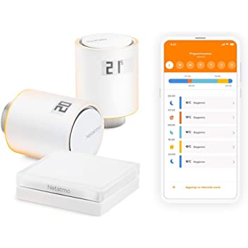 Netatmo Starter Pack Valvole Termostatiche Wifi Intelligenti, Kit di Base per Riscaldamento Centralizzato, NVP-IT, 5 - 30 Gradi Celsius