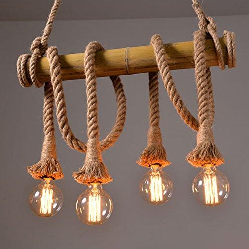 Industrie Corde chanvre Bambou Lampe suspension Edison LED Métal vieilli Lustre Lampe suspension, 220 V, 40 W - -- 4 lumière