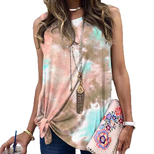 Damen Loose Gradient Tie-Dye Print Twisted äRmelloses T-Shirt
