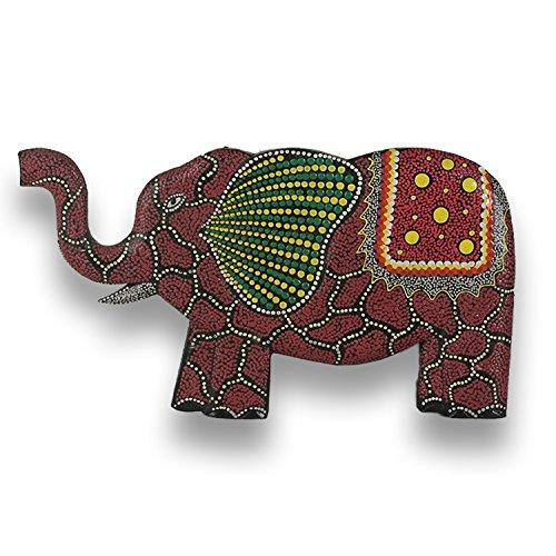 ART-CRAFT Holz Elefant Dodpaint Wandpanel Wandbild Holzbild Hand-geschnitzt 30cm
