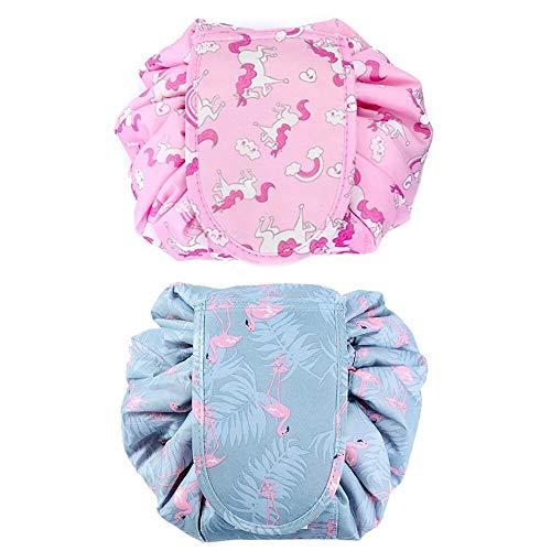 2 Pack Lazy Drawstring Cosmetic Bag Travel Makeup Bags Large Capacity Storage Bag for Women