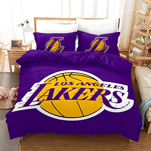 JKZHILOVE Double bedding duvet set 3 Piece 140x200cm 3D Lakers fans Ultra Soft Hypoallergenic Microfiber duvet covers with Zipper Closure & Corner Ties + 2 Pillow covers 50x75cm