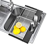 SISFORCE Roll Up Dish Drying Rack Over the Sink:17.3''x11'' Regular Multi-function Dish Drying Rack with Utensil Holder Foldable Stainless Steel Dish Drainer for Kitchen Vegetable Fruit (Black)