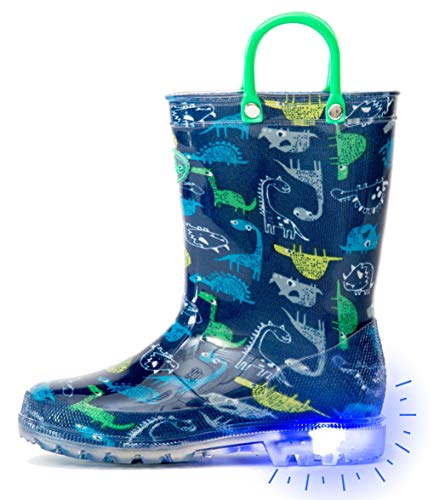Outee Toddler Boys Kids Light Up Rain Boots Printed Waterproof Shoes Lightweight Cute Blue Dinosaur with Easy-On Handles and Insole (Size 5,Blue)