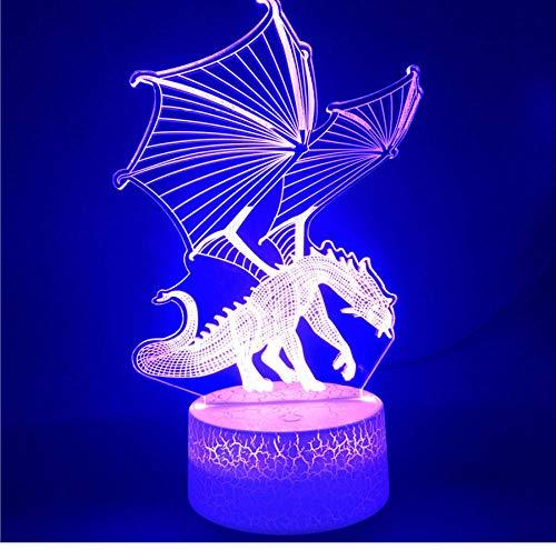 fczka LED Night Light Base Bluetooth Juego de Tronos Dragon Bright Base 7 Color con sensor táctil remoto Suministro USB Decoración Halloween