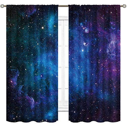 Cinblue Kids Boys Galaxy Curtains Rod Pocket Outer Space Nebula Navy Blue Starry Sky Universe Planet Art Printed Living Room Bedroom Window Drapes Treatment Fabric 2 Panels 42 (W) x 63(L) Inch