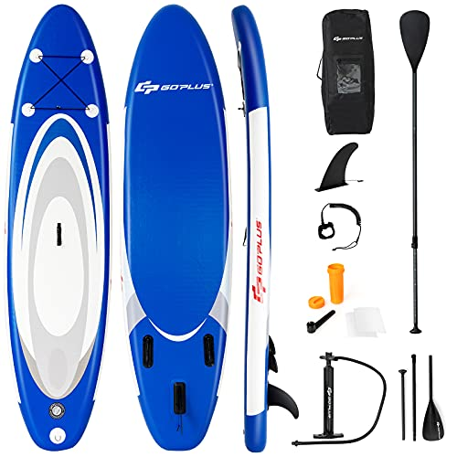 Goplus Inflatable Stand up Paddle Board Surfboard SUP Board with Adjustable Paddle Carry Bag Manual Pump Repair Kit Removable Fin for All Skill Levels, 6' Thick (Navy, 11 FT)
