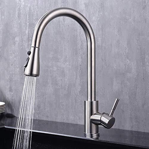 GAVAER Wasserhahn Küche,Küchenarmatur mit Ausziehbarer Brause Wasserhahn, Schwenkbar 360° Grad Drehbar, Edelstahl Spültischarmatur, Kaltem und Heißem Wasser Vorhanden, 100% Blei- und Nickelfrei
