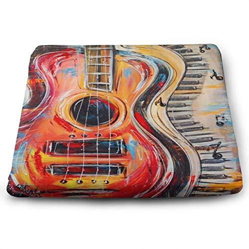 Cuscini per sedili Quadrati Note Musicali astratte Piano Jazz Premium Comfort Memory Foam Sedie da Cucina Pad