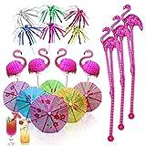 80 Pieces Cocktail Accessories Umbrellas,20 Flamingo Cocktail Sticks, 20 Paper Umbrella Drink Sticks, 20 Aluminum Foil Palm Tree Cocktail Sticks,20 Flamingo Stirring,Sticks for beach, Hawaiian parties