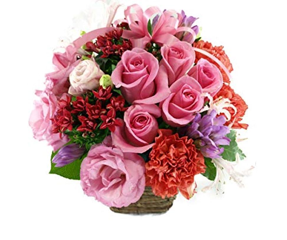 曲市の花熱心5本のバラと季節のお花のリボンアレンジメント