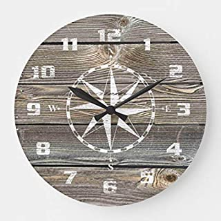 Authentic Looking Wood Rustic Nautical Compass Wall Clocks Large Decorative Wooden Quartz Silent Clock 14 Inches Home Clock Gifts for Women