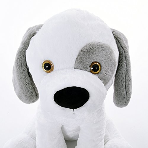 Monzana Plüschtier Kuscheltier Stofftier Hund XL 58 cm Groß Weiches Fell Kuschelig Halsband Weiß Plüschhund Stoffhund Spielzeug