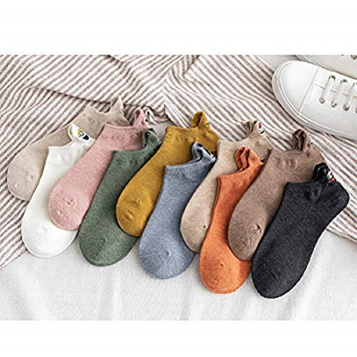 Koowaa 10 niedliche Socken in zufälliger Farbe für Damen und Herren, Cartoon-Stickerei, Ausdruck, Smiley-Socken für Männer und Frauen, Paar Bonbonfarben, Studenten, unsichtbare Bootssocken