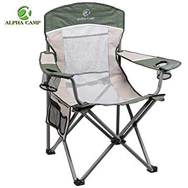 ALPHA CAMP Oversized Camping Chair Folding Portable Mesh Chair with Side Pocket and Cup Holder Support 350lbs, Green/Brown