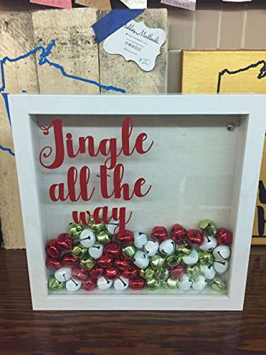 Jingle all the way- White Holiday Shadow Box with Bells