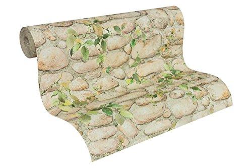A.S. Création Papiertapete Dekora Natur Ökotapete Tapete in Stein Optik 10,05 m x 0,53 m grün Made in Germany 834416 8344-16