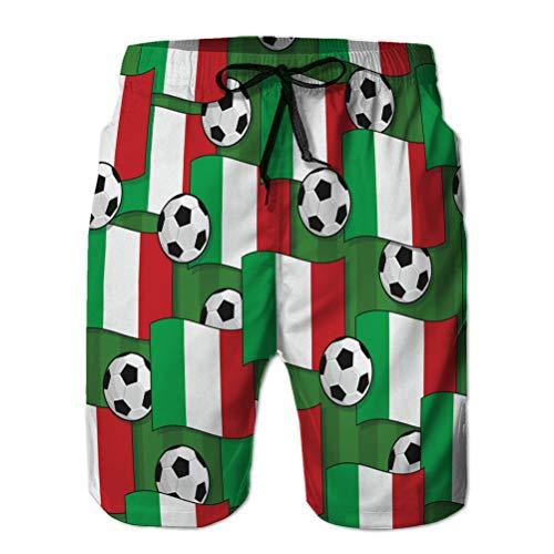 Xunulyn Herren Badehose 3D-Druck Quick Dry Beach Board Shorts Italien Fußballmuster