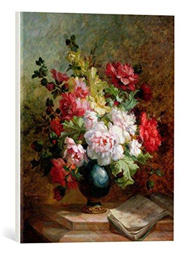 Kunst für Alle Cuadro en Lienzo: Emile Henri Brunner-Lacoste Still Life with Flowers and Sheet Music - Impresión artística, Lienzo en Bastidor, 40x50 cm