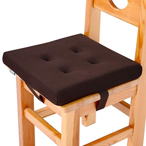"""baibu Super Breathable Kids' Chair Pads Sandwich Mesh Fabric Square Seat Cushion with Ties for School Chair/Wood Chairs(10"""", Brown Velcro)"""