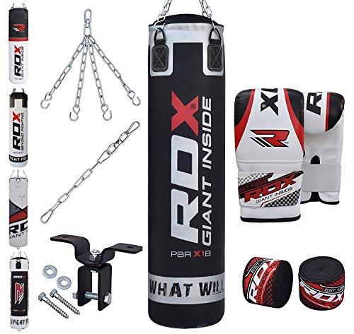 1 x RDX guantes de bolsa pesada acolchado con acolchado de espuma de gel 1 x RDX 16 Gauge Heavy Duty polvo de techo gancho 1 x par de mano envuelve, 1 x gancho para la correa del bolso de sacador, 1 x D-Shackle, 1 bolso de sacador de x Correa de la c...
